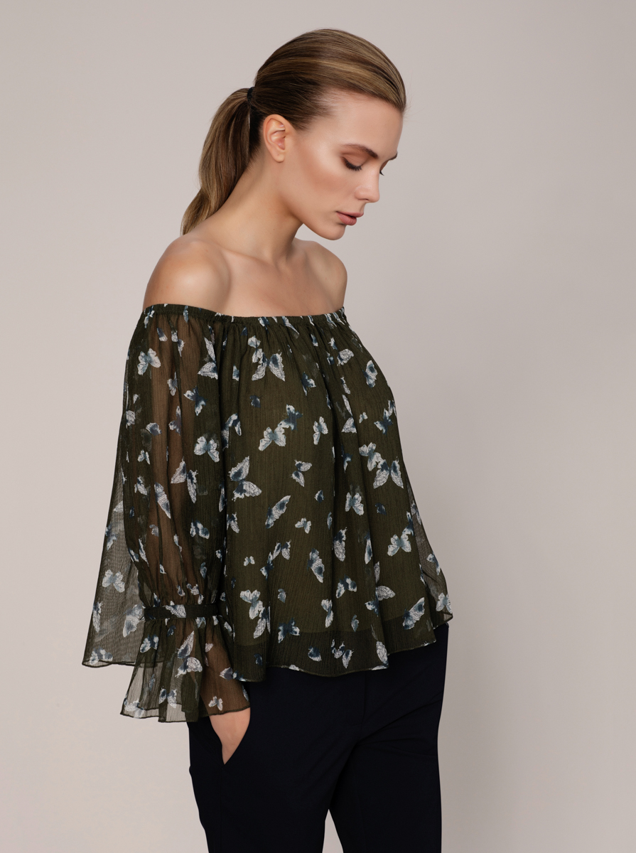 Desenli Off Shoulder Bluz 1