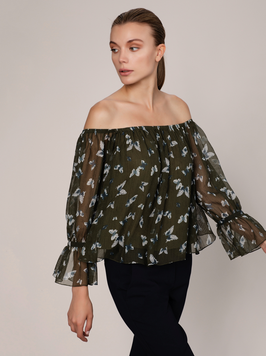 Desenli Off Shoulder Bluz 2
