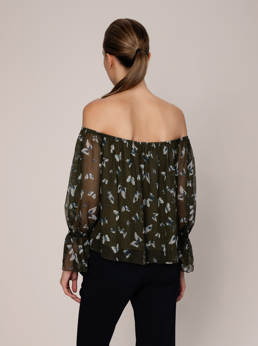 Desenli Off Shoulder Bluz 3